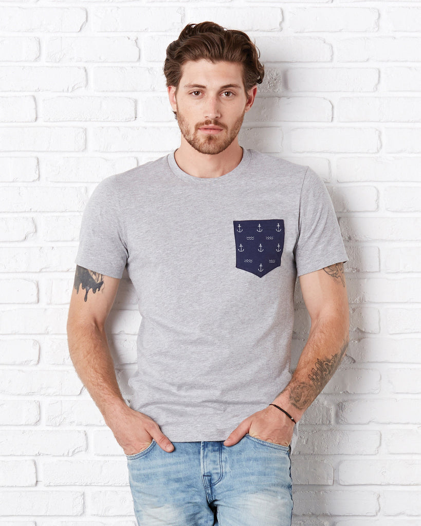 Men's Anchor Wave Pocket T Shirt