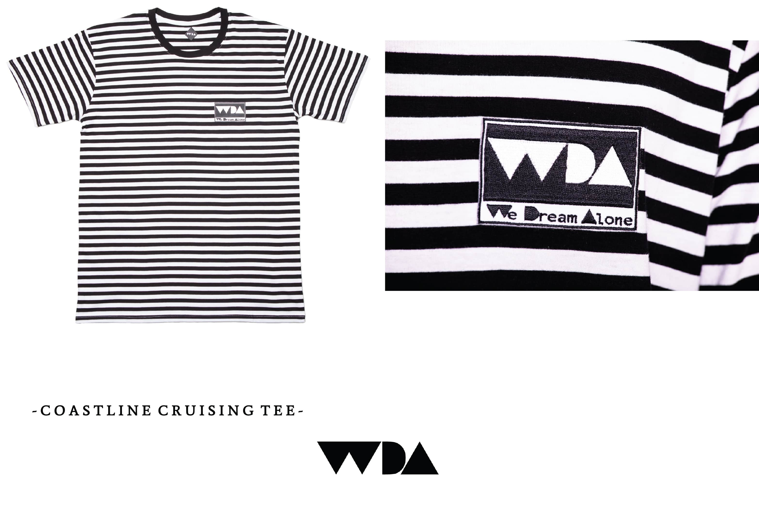 WDA, WE DREAM ALONE, CLOTHING, APPAREL, MENS, TEE, COASTLINE, BLACK, WHITE, STRIPE