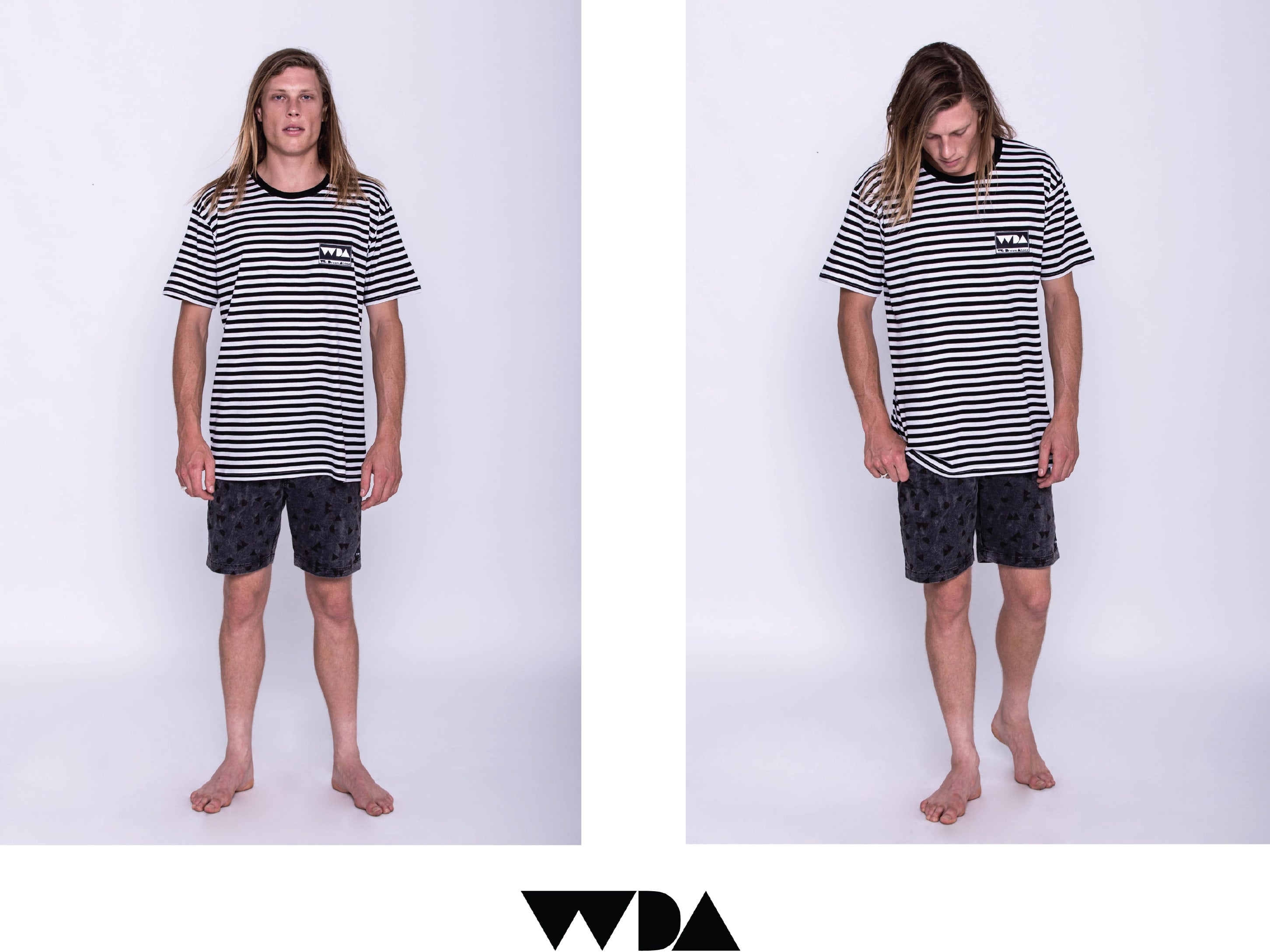 WDA, WE DREAM ALONE, CLOTHING, APPAREL, MENS, TEE, COASTLINE, BLACK, WHITE, STRIPE, VINTAGE DENIM, SHORTS