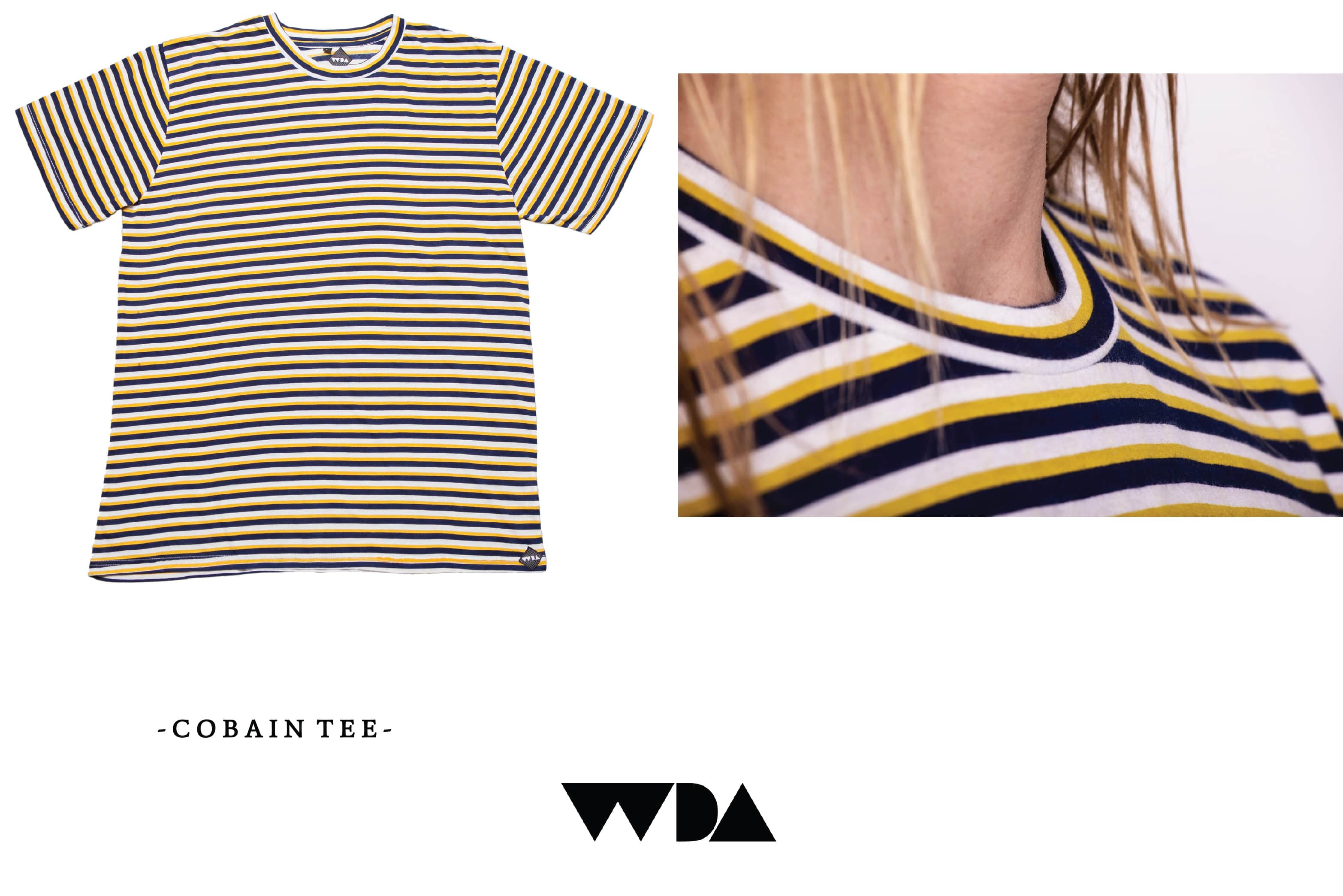 WDA, WE DREAM ALONE, CLOTHING, APPAREL, MENS, TEE, COBAIN, MULTI STRIPE, CLOSEUP
