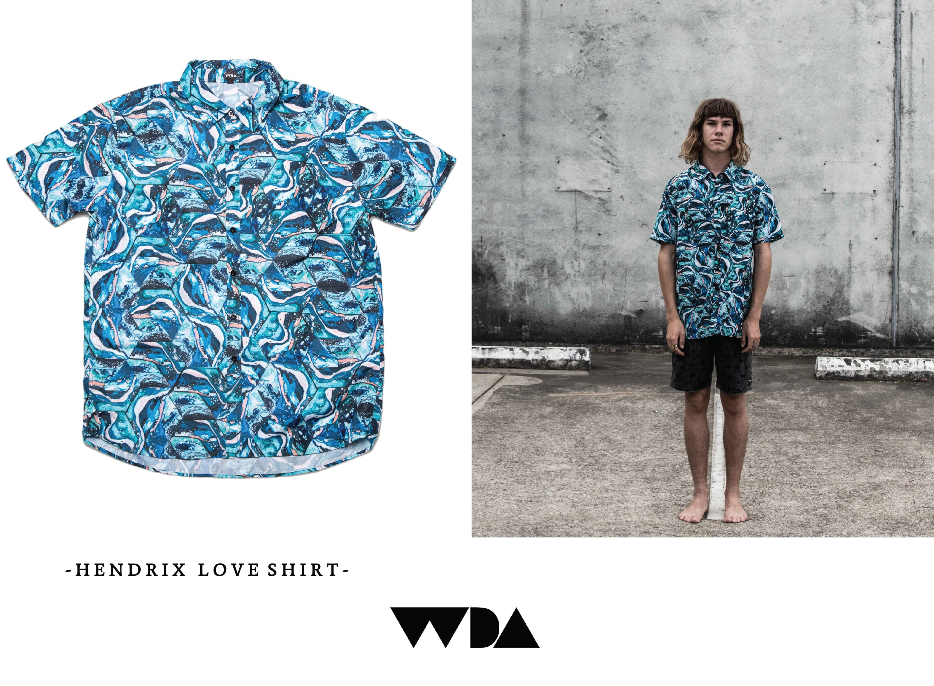 WDA, WE DREAM ALONE, CLOTHING, APPAREL, MENS, HENDRIX, SHIRT, BLUE, TILE, CONCRETE