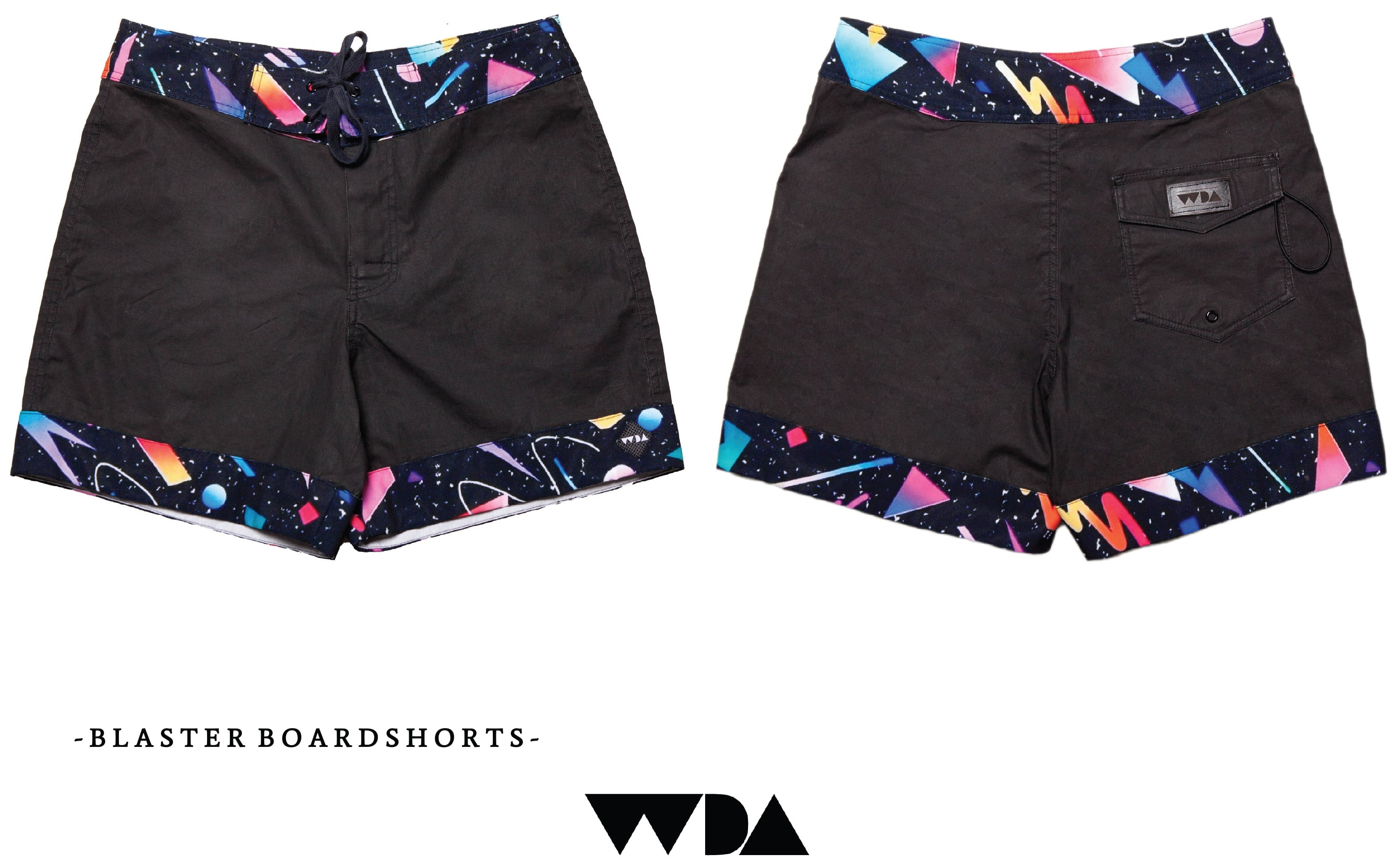 WDA, WE DREAM ALONE, CLOTHING, MAN, BOARDSHORTS, BLASTER, 80S, BLACK