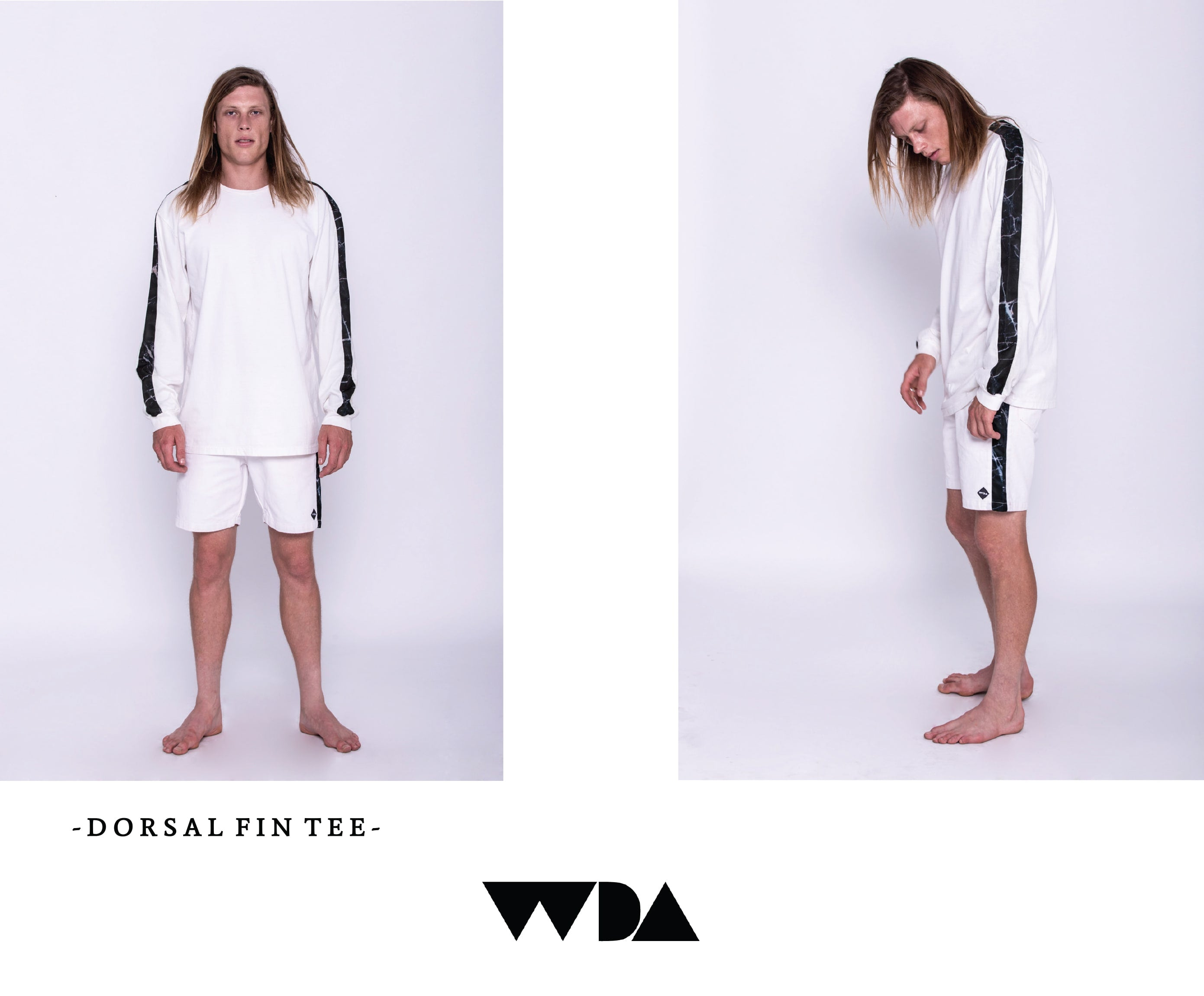 WDA, WE DREAM ALONE, CLOTHING, APPAREL, MENS, DORSAL FIN, LONGSLEEVE, MARBLE, BLACK, WHITE, FRONT VIEW, SIDE VIEW