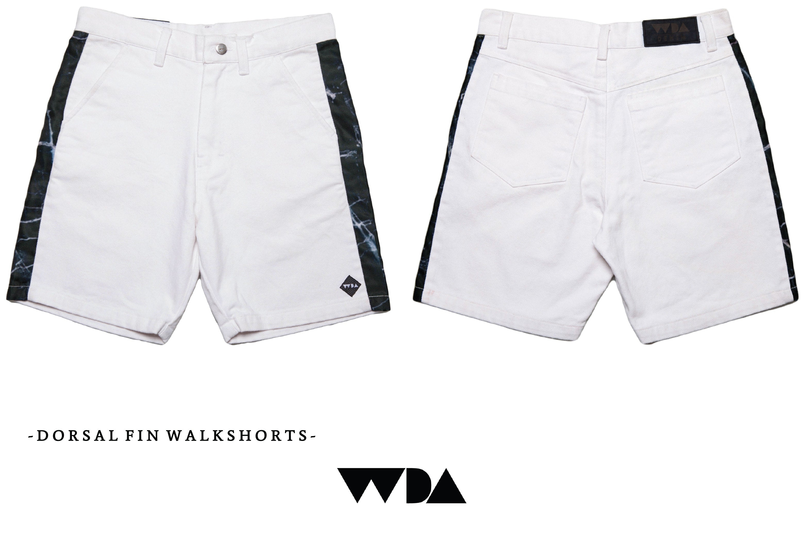 WDA, WE DREAM ALONE, CLOTHING, APPAREL, MENS, DORSAL FIN, DENIM SHORTS, MARBLE, BLACK, WHITE