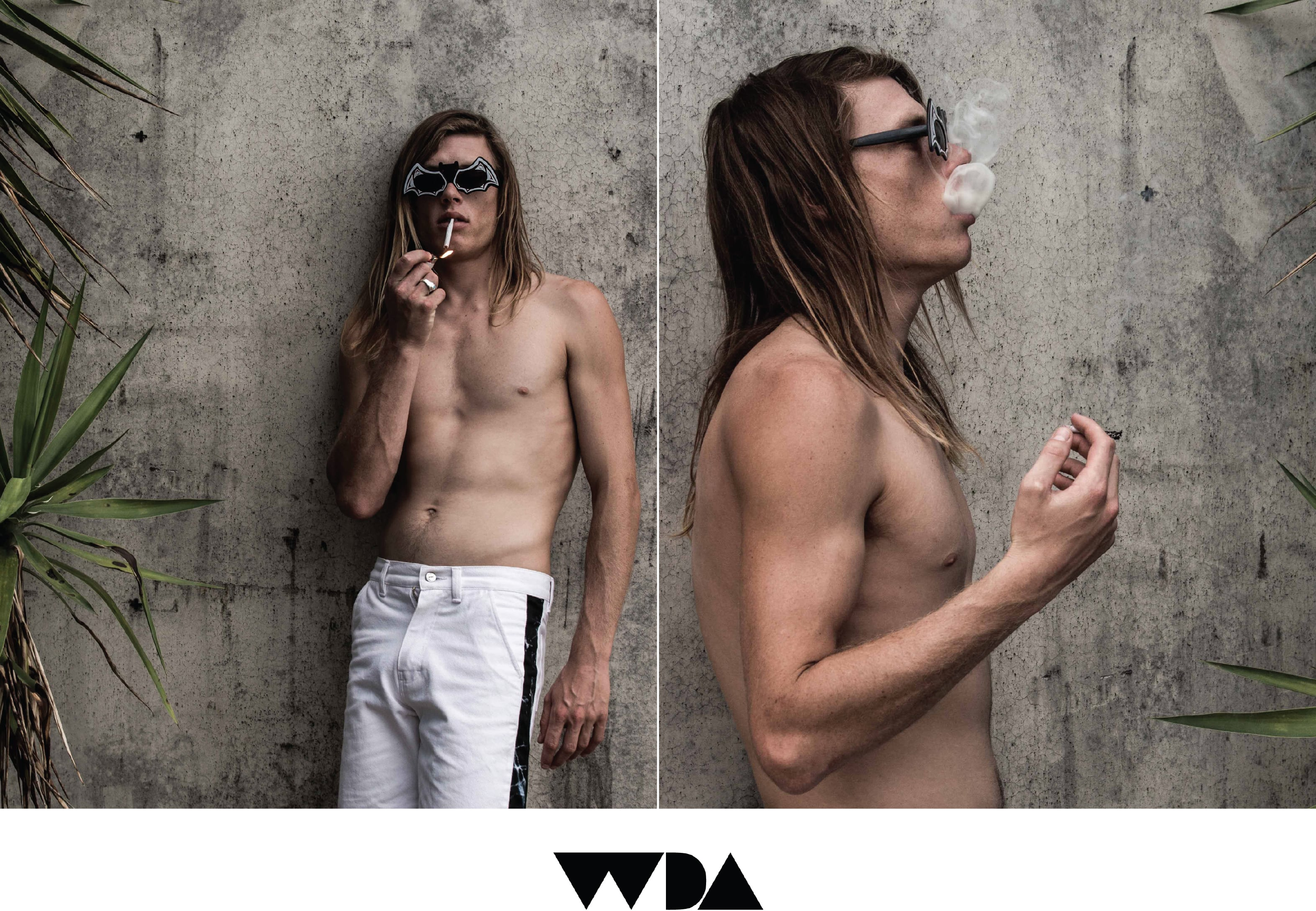 WDA, WE DREAM ALONE, CLOTHING, APPAREL, MENS, DORSAL FIN, DENIM SHORTS, MARBLE, BLACK, WHITE, WALK SHORTS, SMOKE, CONCRETE, MAN, SMOKING