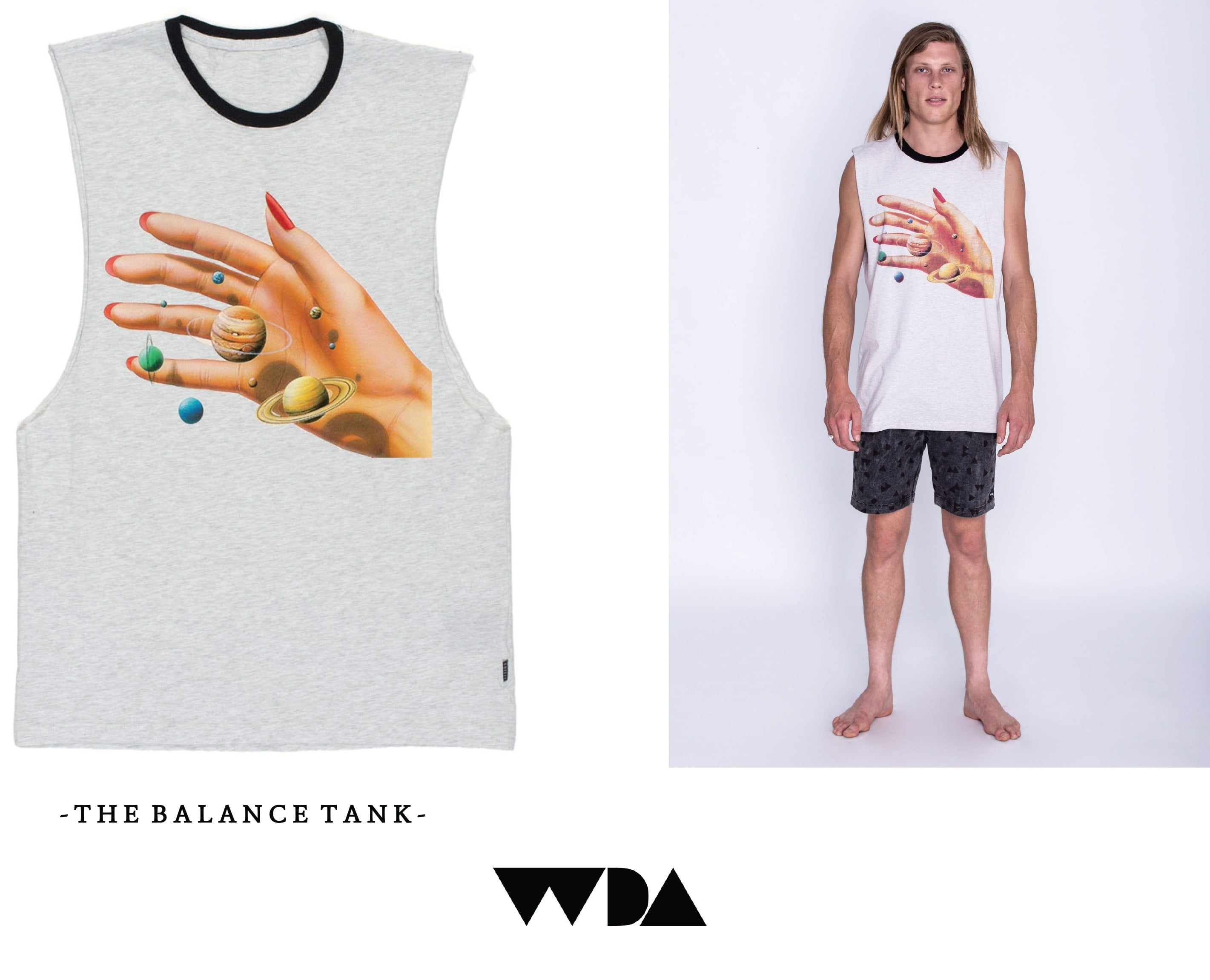 WDA, WE DREAM ALONE, CLOTHING, APPAREL, MENS, GREY MARLE, HAND, UNIVERSE, PLANETS, TANK