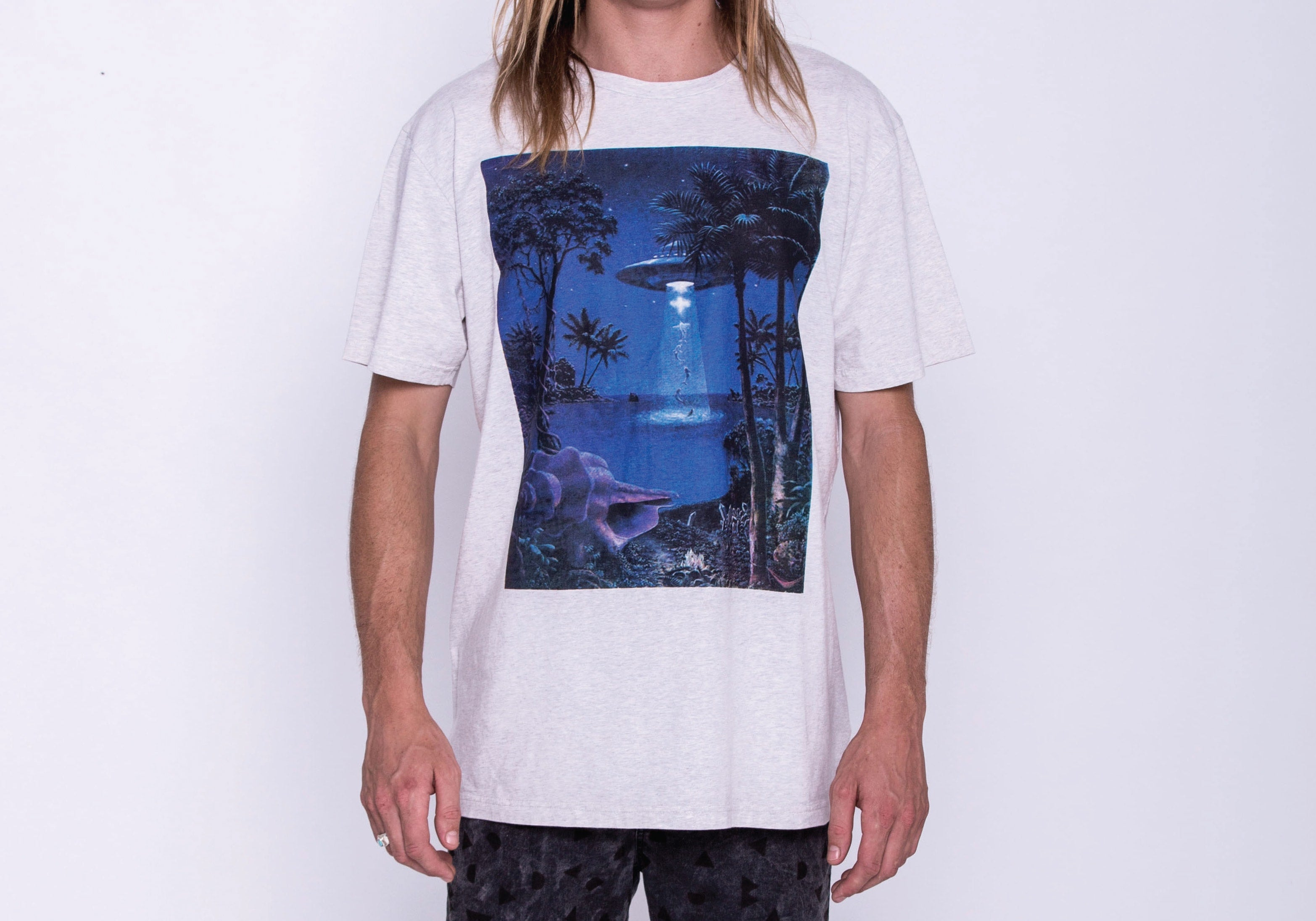 WDA, WE DREAM ALONE, CLOTHING, APPAREL, MENS, GREY MARLE, TOPIA, UFO, BLUE, PURPLE