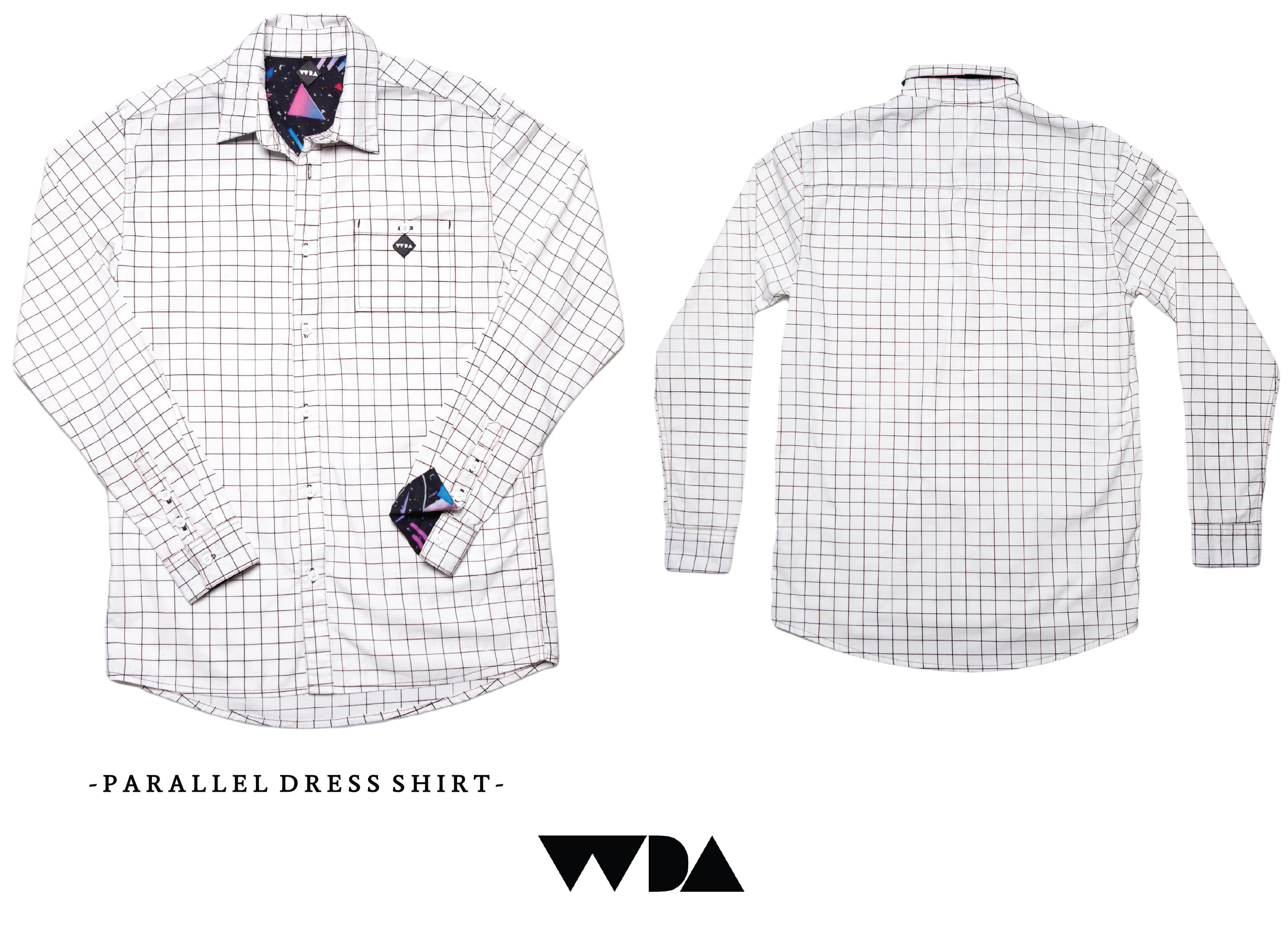 WDA, WE DREAM ALONE, CLOTHING, APPAREL, MENS, PARALLEL, SHIRT, BUTTON UP, WHITE, COLLAR, CUFF, 80S PRINT