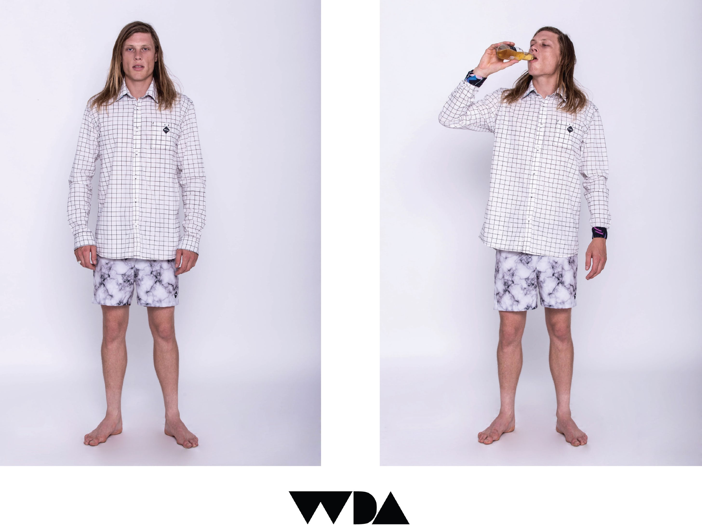 WDA, WE DREAM ALONE, CLOTHING, APPAREL, MENS, PARALLEL, SHIRT, BUTTON UP, WHITE, COLLAR, CUFF, 80S PRINT, BEER, MARBLE SHORT, BOARDSHORT