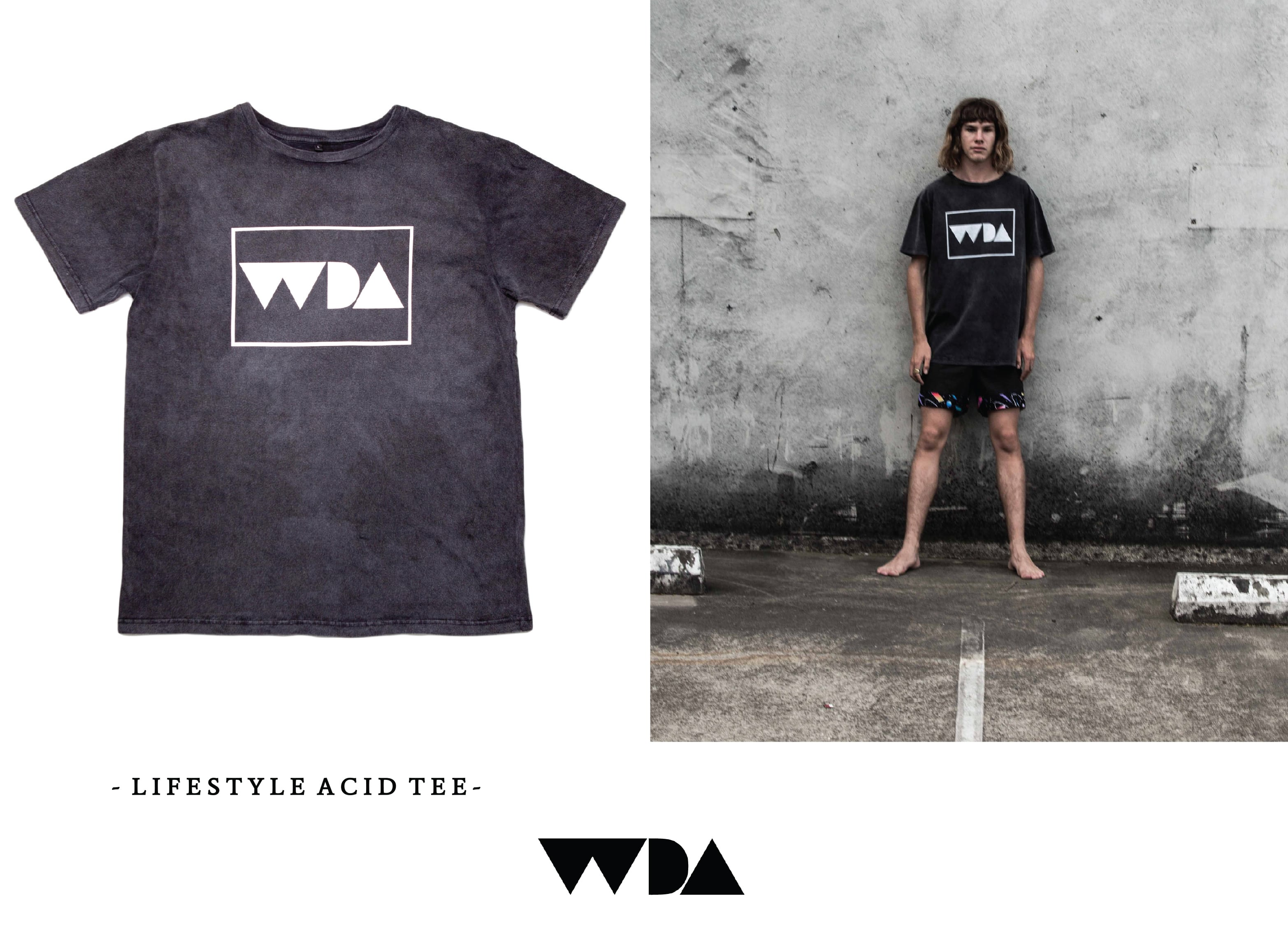 WDA, WE DREAM ALONE, CLOTHING, APPAREL, MENS, ACID WASH, TEE, BLACK, WHITE LOGO, SCREEN PRINT, LIFESTYLE