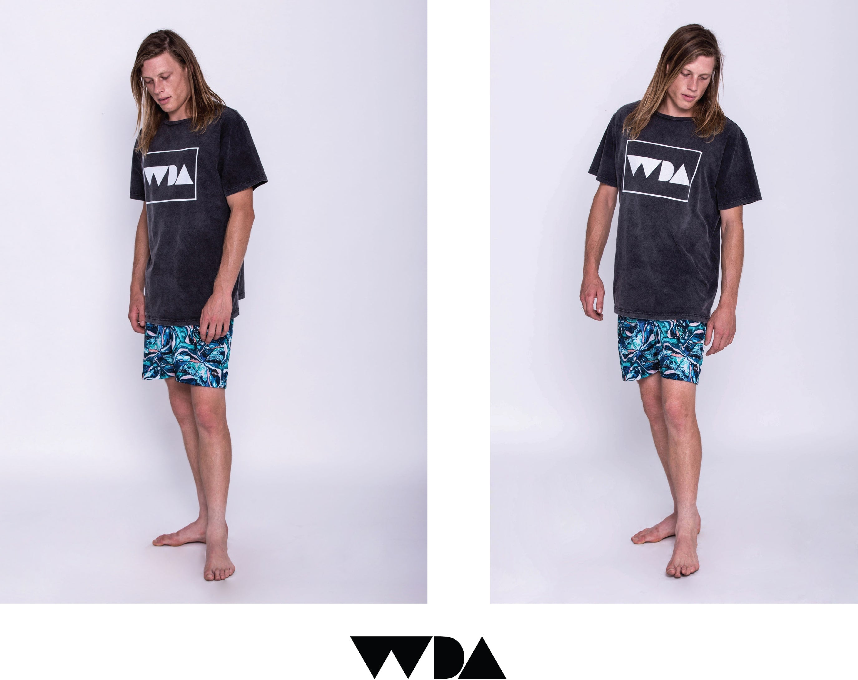 WDA, WE DREAM ALONE, CLOTHING, APPAREL, MENS, ACID WASH, TEE, BLACK, WHITE LOGO, SCREEN PRINT, LIFESTYLE, HENDRIX, BOARDSHORT, BLUE, TILE