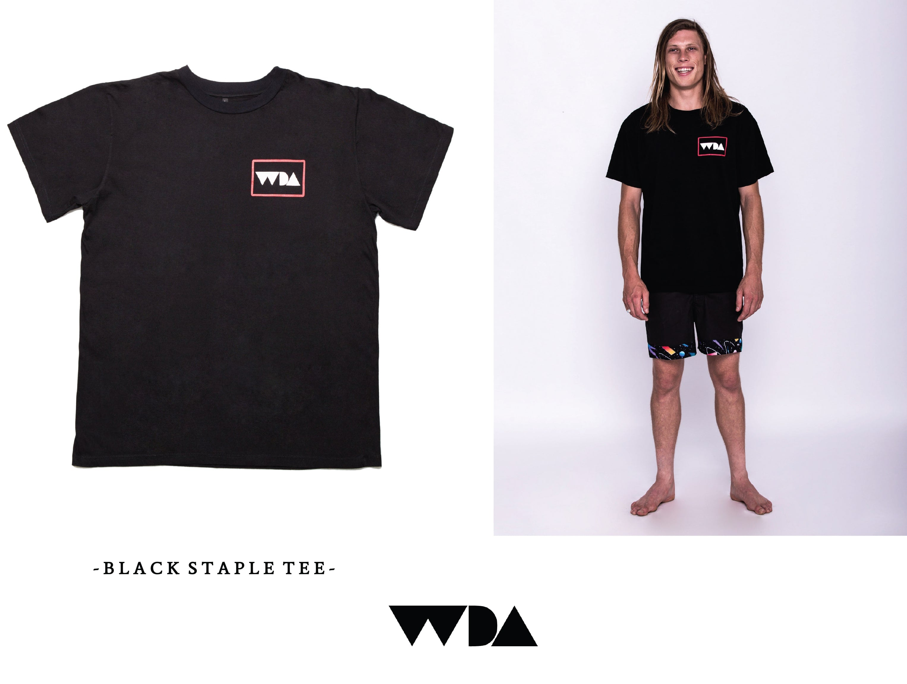 WDA, WE DREAM ALONE, CLOTHING, APPAREL, MENS, BLACK, LOGO, BASIC