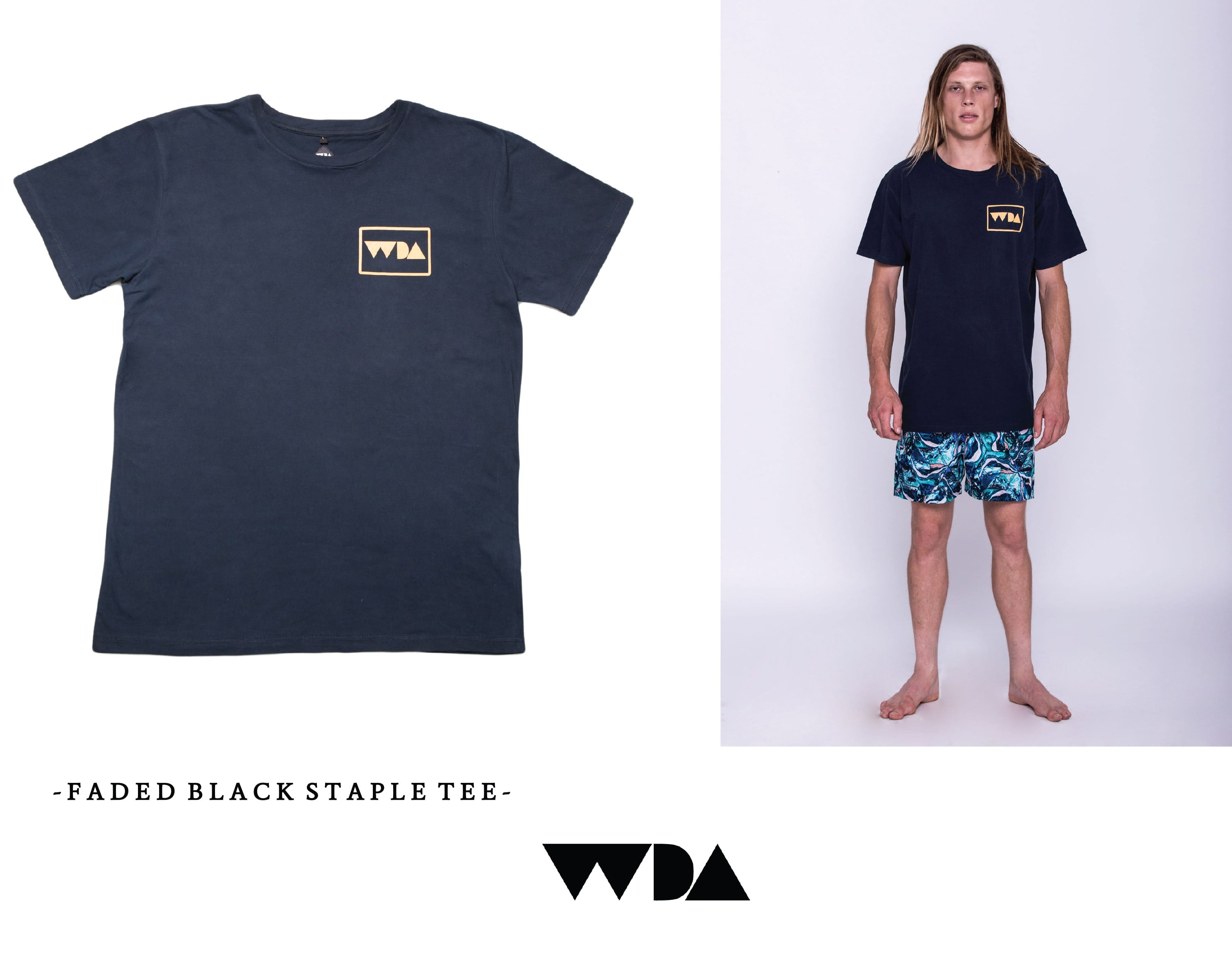 WDA, WE DREAM ALONE, CLOTHING, APPAREL, MENS, FADED BLACK, LOGO, BASIC, HENDRIX, BOARDSHORTS