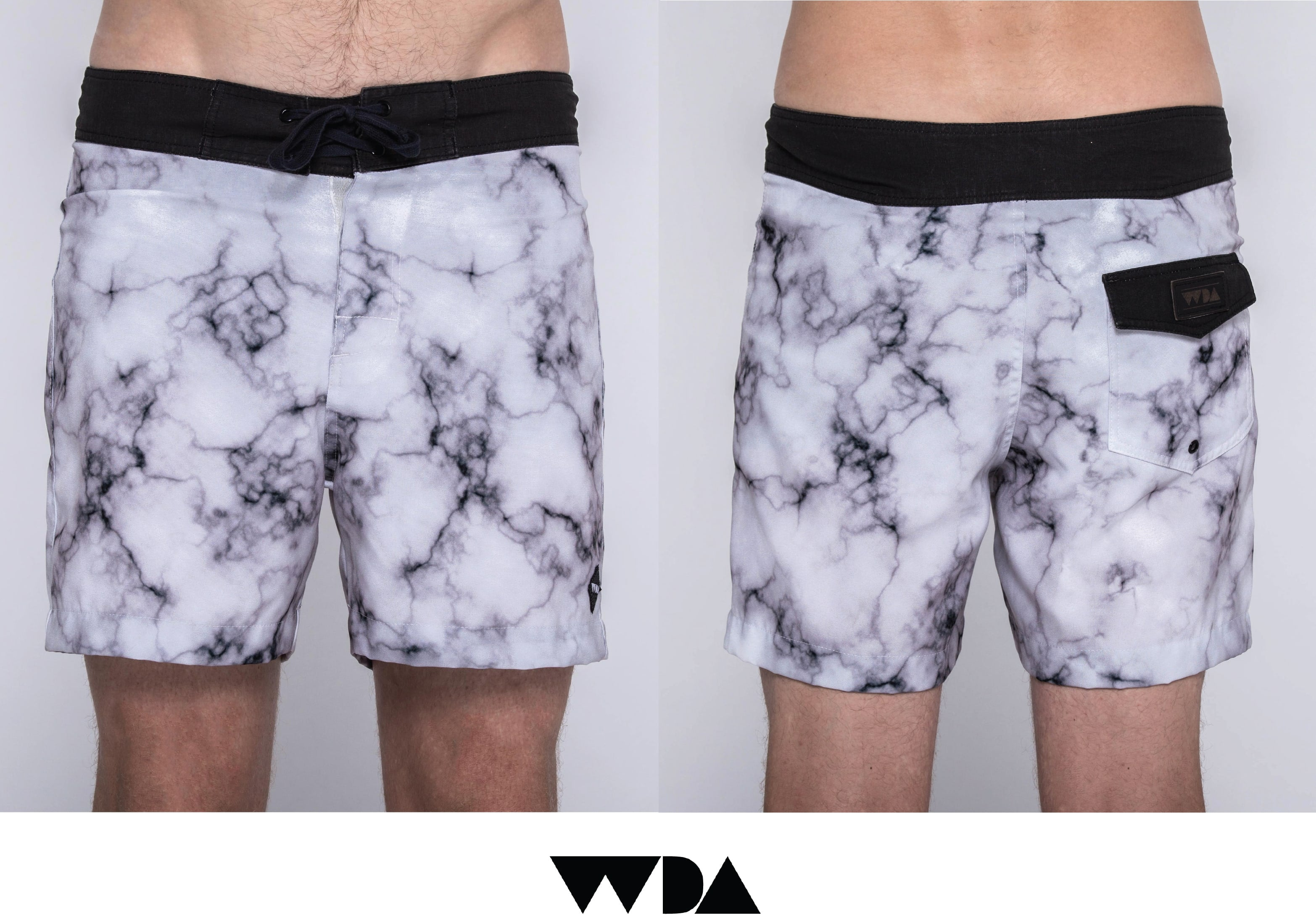 WDA, WE DREAM ALONE, CLOTHING, APPAREL, MENS, BOARDSHORTS, MARBLE, WHITE, BLACK