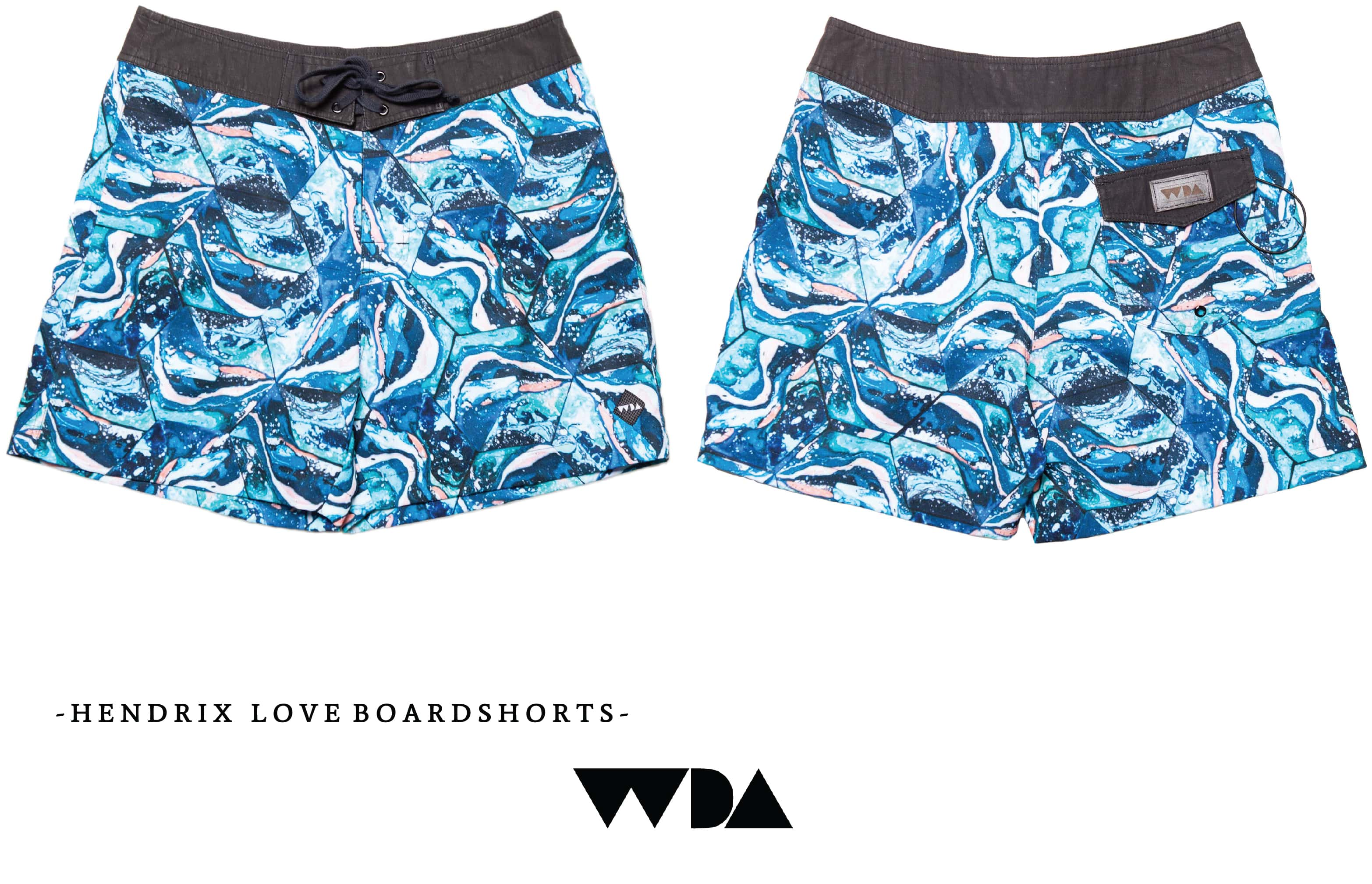 WDA, WE DREAM ALONE, CLOTHING, APPAREL, MENS, BOARDSHORTS, HENDRIX, BLUE, TILE