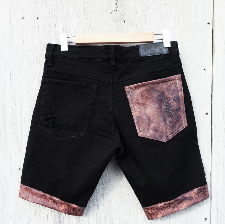 Brown Snake Denim Walk Shorts