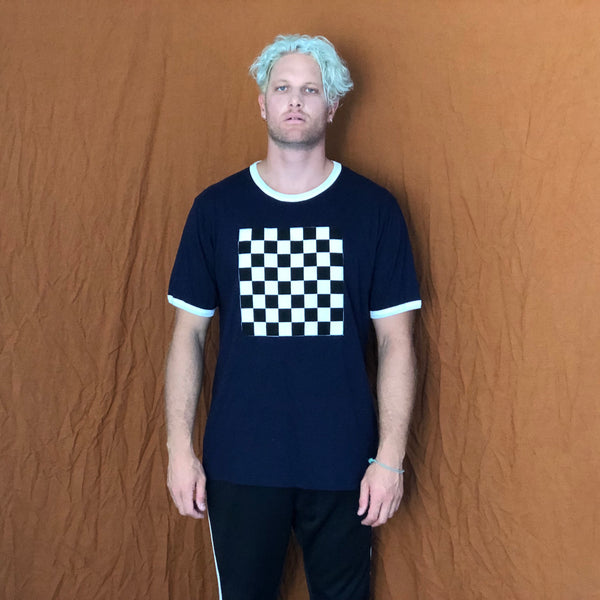 "Check Mate Ringer- Navy Blue ""One of a Kind"" (Extra Large)"
