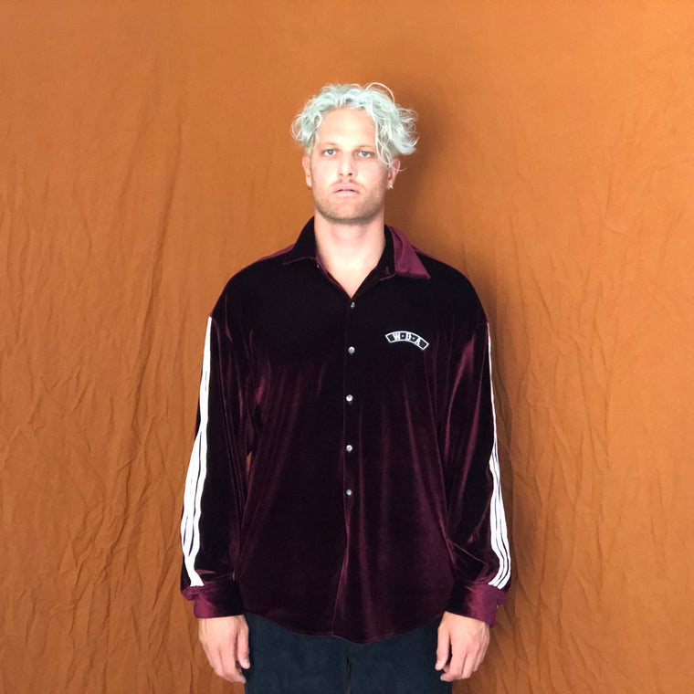 Collage Shirt- Burgundy Velvet