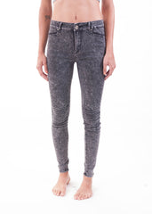 Black Acid Wash Moto Jeggings