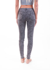 Black Acid Wash Moto Jeggings 3