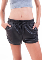 Black Liquid Retro Gym Shorts