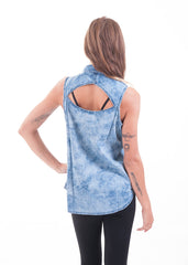 Bleached Cut Out Chambray Sleeveless Shirt 2