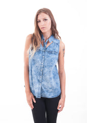 Bleached Cut Out Chambray Sleeveless Shirt