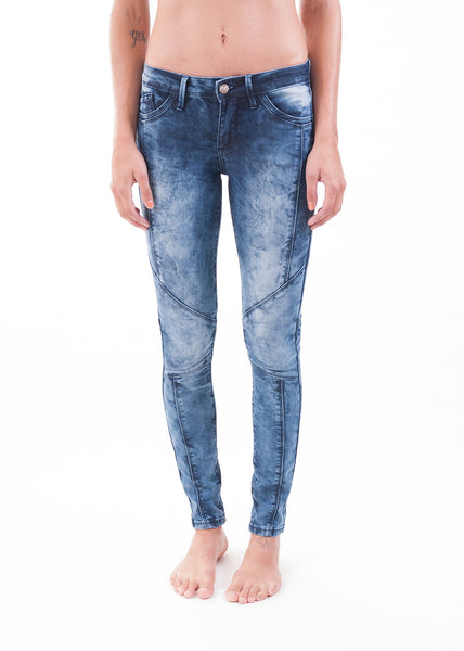 Blue Bleached Moto Skinny Jeans