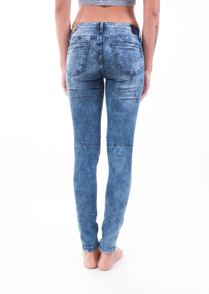 Blue Bleached Moto Skinny Jeans 2