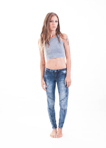 Blue Bleached Moto Skinny Jeans 3
