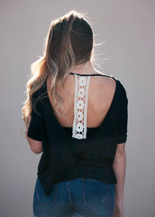 Crochet T Back Slub Top