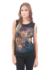 DR Floral Skull Muscle Top