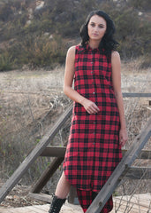 Red Plaid Flannel Sleeveless Shirt Dress