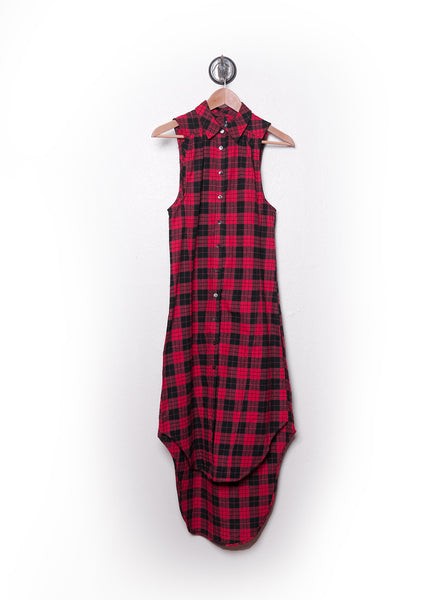 Red Plaid Flannel Sleeveless Shirt Dress 2