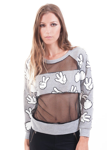 Mickey Hands Mesh Sweater