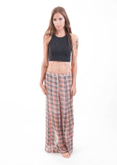 Plaid Sheer Maxi Skirt