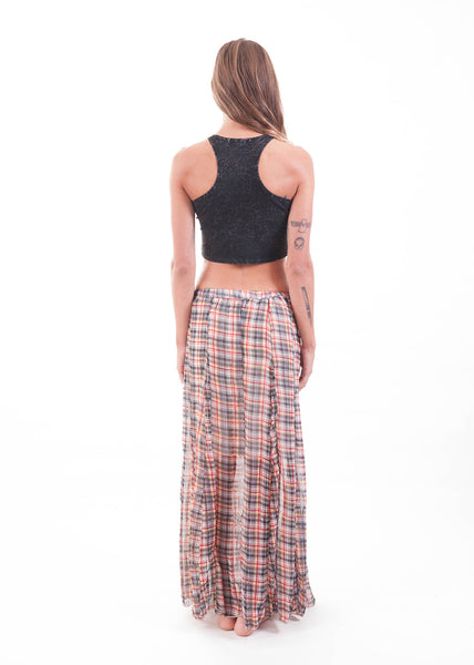 Plaid Sheer Maxi Skirt 3