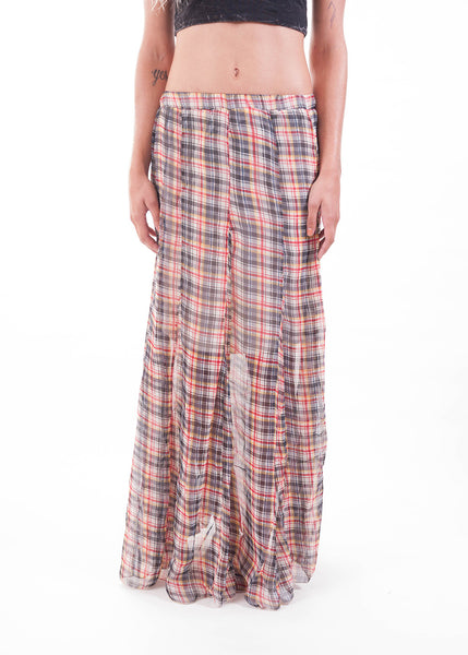 Plaid Sheer Maxi Skirt 2