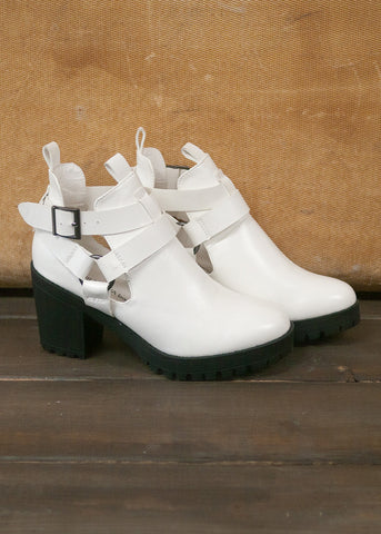 Anais White Cut Out Booties