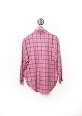 Plaid Dolman Flannel Shirt Pink 3