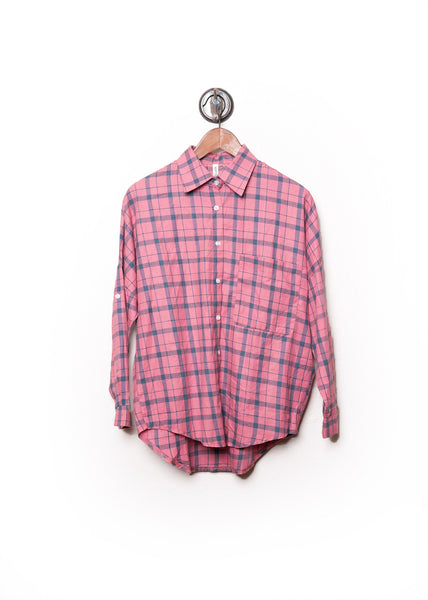 Plaid Dolman Flannel Shirt Pink 2