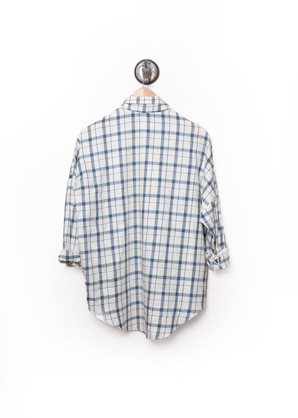 Plaid Dolman Flannel Shirt White 2
