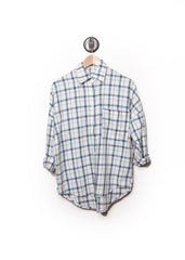 Plaid Dolman Flannel Shirt White