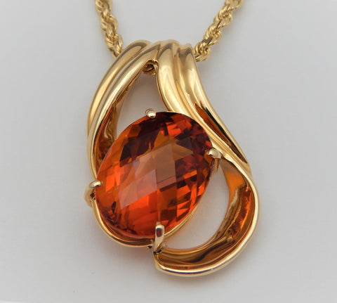 Red citrine pendant custom made in 14k yellow gold old gold red citrine pendant custom made in 14k yellow gold aloadofball Images