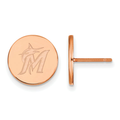 Miami Marlins Earrings Rose Gold Plated