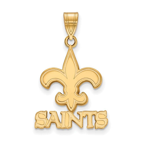 New Orleans Saints Medium Pendant in 10k Yellow Gold