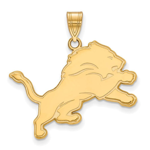 Detroit Lions Large Pendant in 10k Yellow Gold