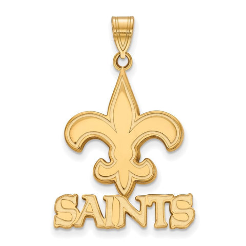 New Orleans Saints Large Pendant in 10k Yellow Gold
