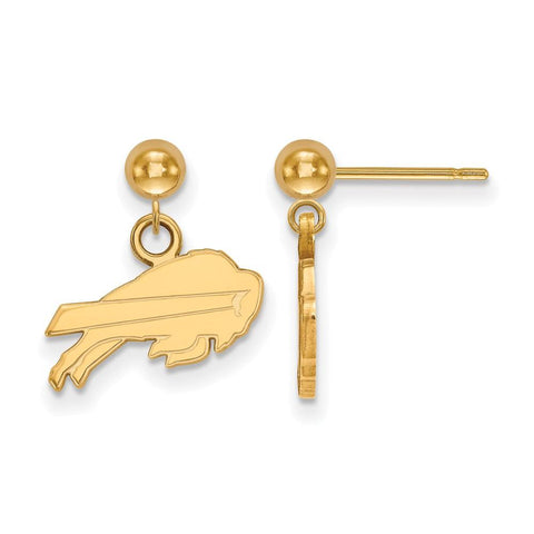 Buffalo Bills Earrings Dangle Ball in 14k Yellow Gold