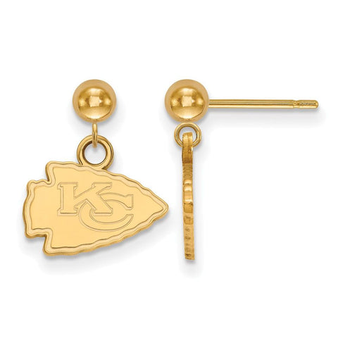 Kansas City Chiefs Earrings Dangle Ball in Gold Plate